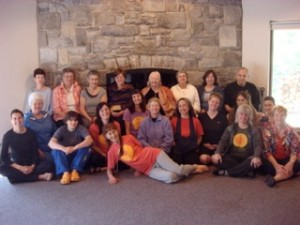 Bobbi with one of her yoga retreat groups and Pru Kestner near Shepardstown, West Va