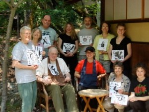 Co-leaders; Inryu Ponce-Barger and Dairyu Michael Wenger Roshi with retreat participants at Tassajara Zen Mountain Center following the Zen, Yoga and Brush Painting retreat